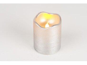 Bougie de Noël LED métallisée en cire et PVC - H 9 x Ø 7 cm - Argent