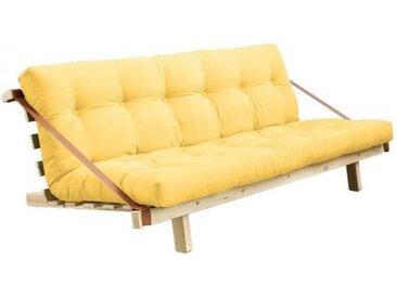 Banquette futon JUMP en pin massif coloris jaune couchage 130 cm. jaune Cuir Inside75
