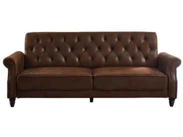 BRICKLANE Canapé Chesterfield droit convertible 3 places - Tissu marron vintage - Vintage - L 221 x P 95 cm