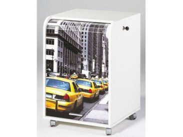 Caisson de bureau 2 tiroirs Contemporain  Blanc imprimé Taxis Jaunes - L 47,2 cm