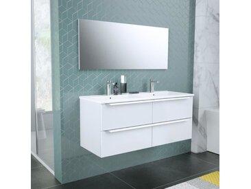 ZOOM meuble de salle de bain double vasque avec miroir L 120cm - 4 tiroirs à fermeture ralenties - Blanc laqué brillant