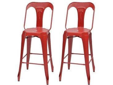KRAFT Claire Lot de 2 chaises de bar en métal rouge mat - Industriel - L 47 x P 55 cm - Assise H 75.5cm