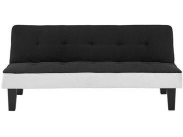 CELIA Banquette Clic-Clac 3 places contemporain capitonné - Simili noir et blanc - L 168 x P 73 x H 71 cm