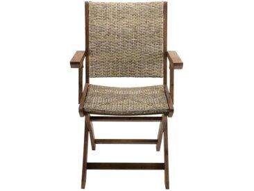 Lot de 2 fauteuils pliants - Acacia et rotin