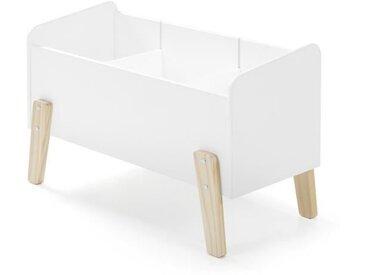 KIDDY Coffre à jouets scandinave en bois pin massif blanc - L 80 cm