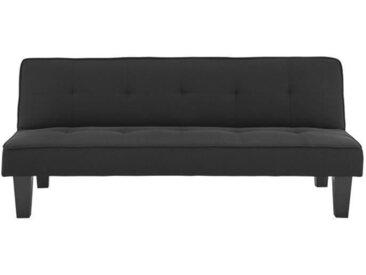 CELIA Banquette Clic-Clac 3 places contemporain capitonné - Simili noir - L 168 x P 73 x H 71 cm