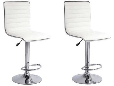SLIM Lot de 2 tabourets de bar - Simili blanc - Contemporain - L 40,5 x P 48 cm