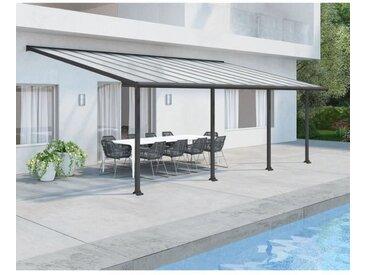 Pergola adossée Olympia 21,9 m² - Aluminium et polycarbonate - Gris - PALRAM
