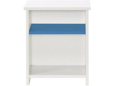 MARINA Chevet enfant contemporain laqué blanc satiné et bleu serenity - L 35 cm