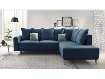 MOLA Canapé d'angle droit convertible - Tissu Bleu navy - L 252 x P 215 x H 90 cm