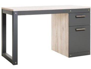 BROOKLYN Bureau 1 porte et 1 tiroir - Style industriel - Décor Chêne Sorrento et anthracite - L 125 x P 60 x H 75 cm