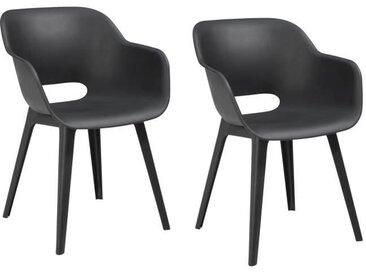 ALLIBERT JARDIN Lot de 2 fauteuils Akola - Coque graphite