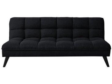 FLUFFY Banquette clic clac 3 places - Tissu noir - Style contemporain - L 184 x P 82 cm