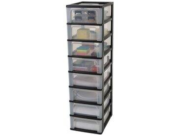 IRIS OHYAMA Tour de rangement 8 tiroirs - Noir et transparent - 56 L - 35,5 x 26 x 96 cm