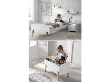 KIDDY Chambre enfant complète style scandinave en bois pin massif et MDF laqué blanc - l 90 x L 200 cm