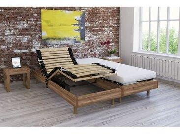 Ensemble relaxation TALCA matelas + sommiers électriques décor chêne 2x80x200 - Mousse - 14 cm - Ferme