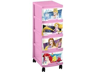 CURVER PRINCESS Tour de rangement 4 tiroirs A4 10 L avec roulettes rose