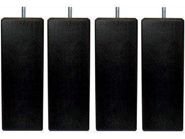 Jeu de pieds carrés L 6 x l 6 x H 24,5 cm Noir - Lot de 4