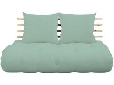 Canapé lit futon SHIN SANO menthe et pin massif couchage 140*200 cm. vert Tissu Inside75