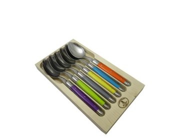 LAGUIOLE Lot de 6 cuillères de table - Inox - Manche ABS couleurs trendy
