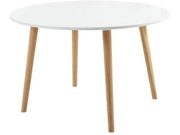 ORATELLO Table à manger de 4 à 6 personnes scandinave laquée blanc mat - L 120 x l 120 cm