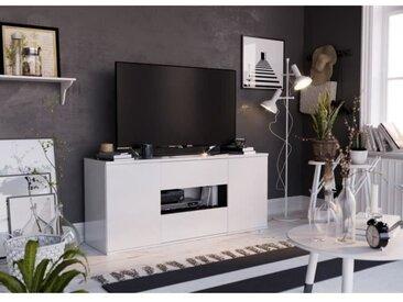 STAR Meuble TV 2 portes 2 tiroirs - Blanc brillant et gris - L 150 x P 42 x H 67cm