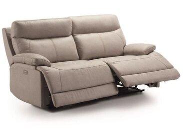 SANTANDER Canapé 3 places 2 relax électrique + Tétière électrique - Tissu Gris - L 194 x P 97 x H 99 cm