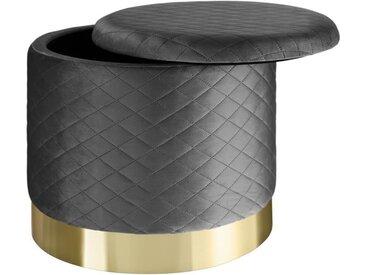 TECTAKE Pouf Coffre de rangement rond en Velours 51 cm x 44,5 cm, 300 kg poids supporté - Gris foncé
