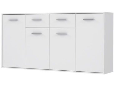PILVI Buffet bas 4 portes 4 tiroirs - Blanc mat - L 162,3 x P 34,2 x H 88,1 cm