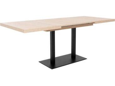 ORLANDO Table à manger à rallonge - Style industriel - Décor chêne sonoma et noir - L 120-200 x P 80 x H 75 cm