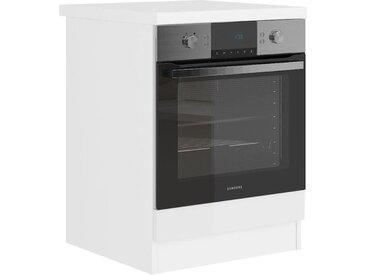 ULTRA Meuble four avec plan de travail L 60 cm - Blanc brillant et décor stratifié blanc