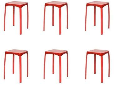 POKI Lot de 6 Tabourets - Rouge - Contemporain - L 32 x P 32 cm