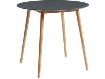 BABETTE Table à manger ronde de 2 à 4 personnes scandinave gris laqué satiné - Pieds en bois massif - Ø 87 cm