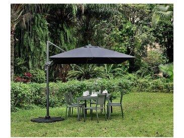 Parasol déporté rectangulaire 3x2,5m - Rotatif à 360° & Orientable - Mât aluminium- Toile déperlante en Polyester 250g/m2 - Gris