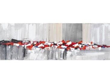 Toile peinte abstraite - Coton - 40x120 cm - Rouge, orange et blanc