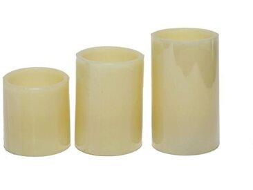 Set de 3 bougies LED PARMA hauteur 7,5-10-12,5 cm blanc