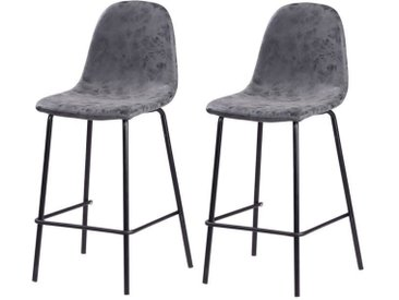 VINTE Lot de 2 tabourets de bar - Simili gris anthracite - Industriel - L 39,5 x P 47,5 cm