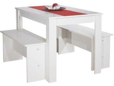 SALT Ensemble table à manger de 4 personnes + 2 bancs contemporain blanc - L 110 x l 70 cm
