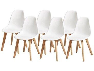SACHA Lot de 6 Chaises pieds en Hévéa - Blanc - L 46 x P 53 x H 82
