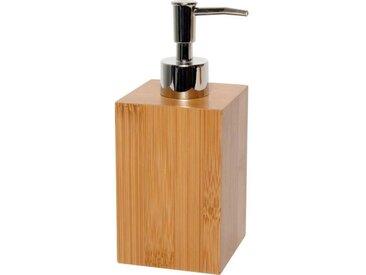 Distributeur à savon carré - Bambou - H18 x l7,2 x P7,2 cm