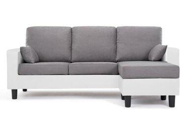 BERLIN Canapé d'angle réversible 3 places - Simili blanc et tissu gris clair - Contemporain - L 185 x P 128 cm