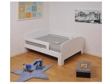 TOBY Lit évolutif enfant + matelas contemporain blanc - l 90 x L 140-200 cm