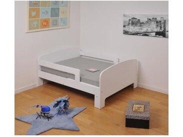 WEBER Lit évolutif enfant + matelas contemporain blanc - l 90 x L 140-200 cm - TOBY