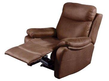 NEW ORLEANS Fauteuil de relaxation électrique - Tissu Chocolat - L 90 x P 97 x H 102 cm