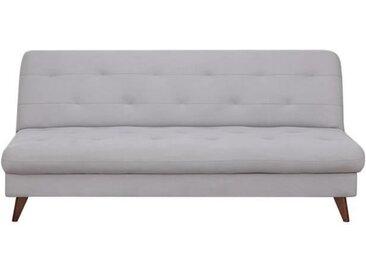 Clic-clac avec coffre de rangement - Tissu gris - piètement en bois naturel - L 185 x P 85 x 84 cm - LUCY