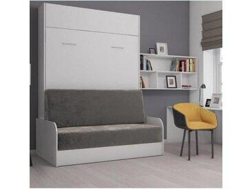 Armoire lit escamotable STUDIO SOFA canapé accoudoirs blanc mat et microfibre gris couchage 140*200 cm blanc Microfibre Inside75