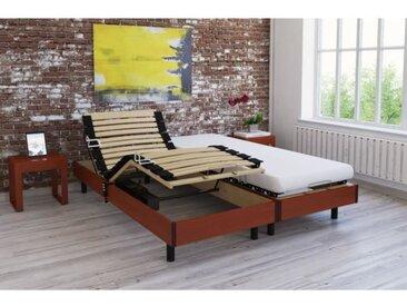 Ensemble relaxation TALCA matelas + sommiers électriques décor cerisier 2x80x200 - Mousse - 14 cm - Ferme