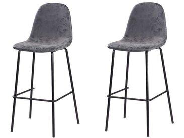 VINTI Lot de 2 tabourets de bar - Simili gris anthracite - Industriel - L 39,5 x P 47,5 cm