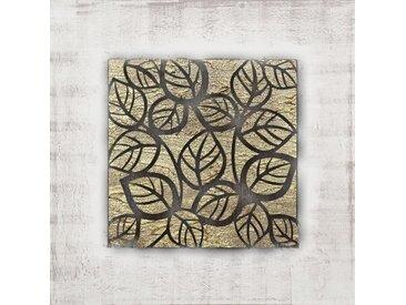 Toile peinte Feuilles - Peinture en relief - 70x70 cm - Doré et marron - Fond blanc
