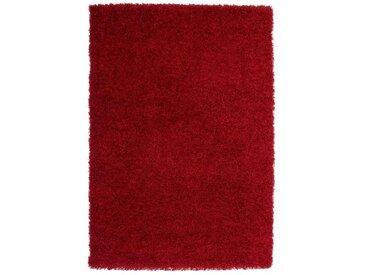 TRENDY Tapis de couloir Shaggy en polypropylène - 80 x 140 cm - Rouge
